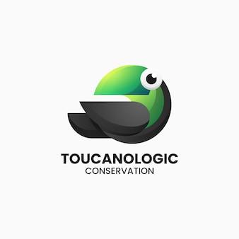 Illustration logo vectoriel dans style coloré dégradé toucan