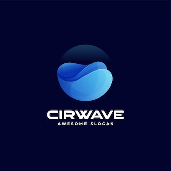 Illustration logo vectoriel dans style coloré dégradé vague