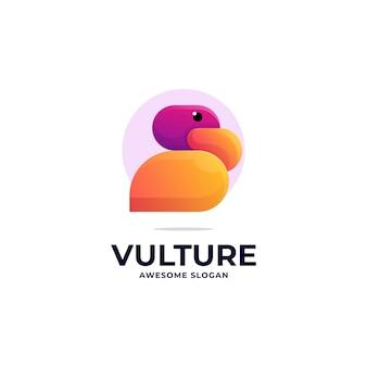 Illustration logo vectoriel dans style coloré dégradé vautour