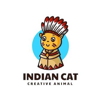 Illustration logo vectoriel dans style dessin animé mascotte chat indien