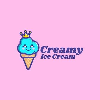 Illustration logo vectoriel dans style dessin animé mascotte crème glacée