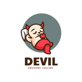 Illustration logo vectoriel dans style dessin animé mascotte diable