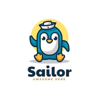 Illustration logo vectoriel dans style dessin animé mascotte marin