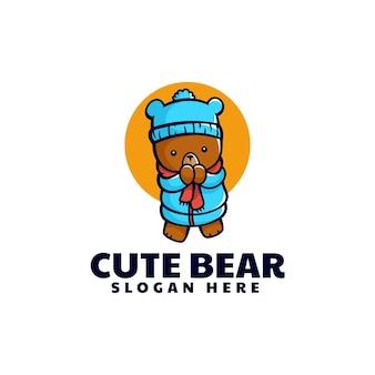 Illustration logo vectoriel dans style dessin animé mascotte ours froid