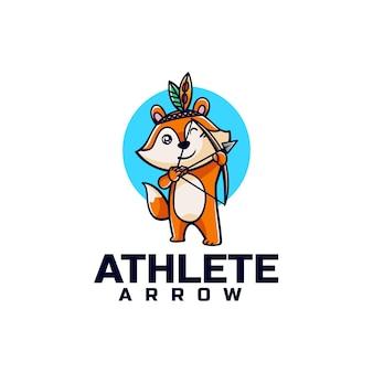 Illustration logo vectoriel dans style dessin animé mascotte renard tir arc
