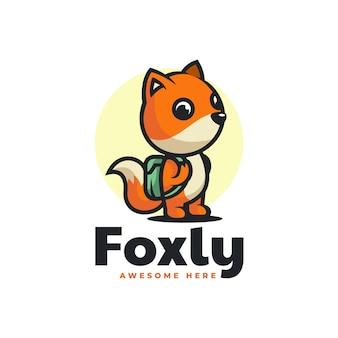 Illustration logo vectoriel dans style dessin animé mascotte renard