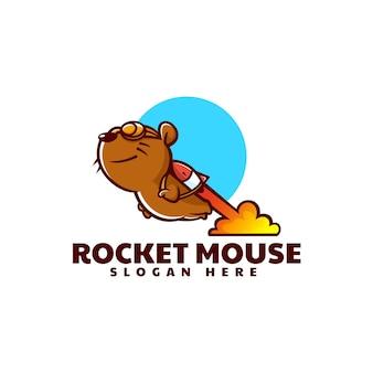 Illustration logo vectoriel dans style dessin animé mascotte souris fusée