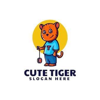 Illustration logo vectoriel dans style dessin animé mascotte tigre