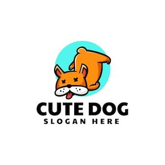 Illustration logo vectoriel dans style dessin animé mignon chien mascotte