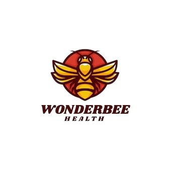 Illustration logo vectoriel dans style mascotte simple abeille