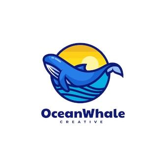 Illustration logo vectoriel dans style mascotte simple baleine océan