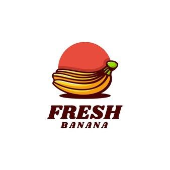 Illustration logo vectoriel dans style mascotte simple banane fraîche