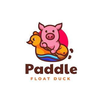 Illustration logo vectoriel dans style mascotte simple cochon pagaie