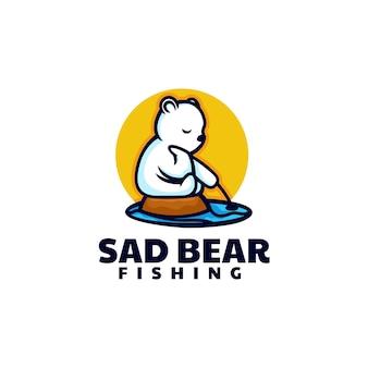 Illustration logo vectoriel dans style mascotte simple ours triste