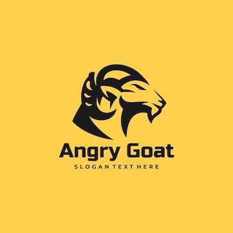 Illustration logo vectoriel dans style silhouette chèvre colère
