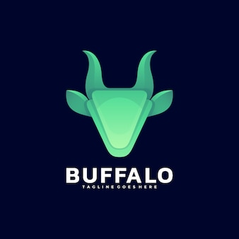 Illustration logo vectoriel dégradé buffalo style coloré
