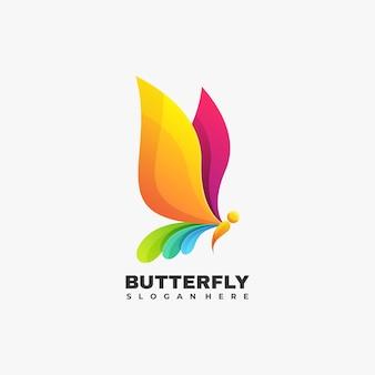 Illustration logo vectoriel dégradé papillon style coloré