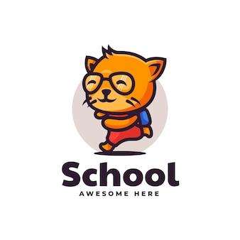 Illustration logo vectoriel école chat mascotte dans style dessin animé