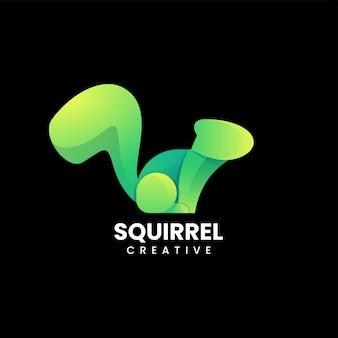 Illustration logo vectoriel écureuil dégradé style coloré
