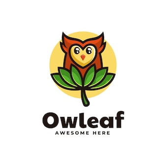 Illustration logo vectoriel feuille hibou mascotte dans style dessin animé