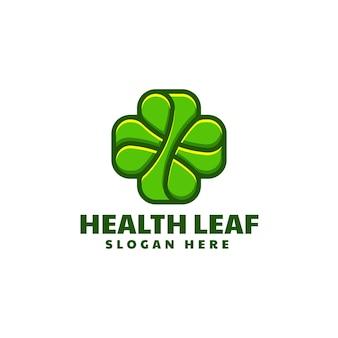 Illustration logo vectoriel feuille santé dans style mascotte simple