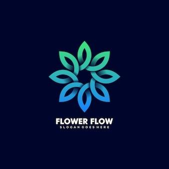 Illustration logo vectoriel fleur abstraite feuille forme ligne infini style coloré