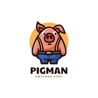 Illustration logo vectoriel homme cochon mascotte dans style dessin animé