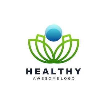 Illustration de logo vectoriel humain avec style art ligne lotus