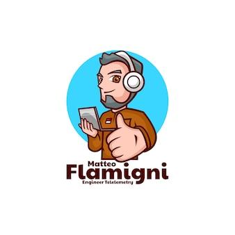 Illustration logo vectoriel ingénieur télémétrie mascotte dans style dessin animé