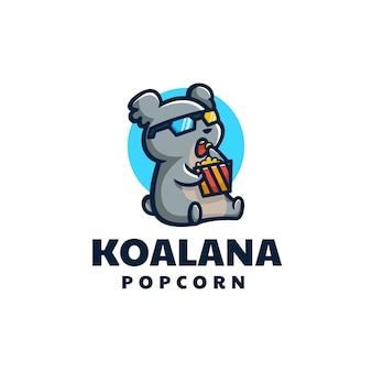 Illustration logo vectoriel koala cinéma mascotte dans style dessin animé