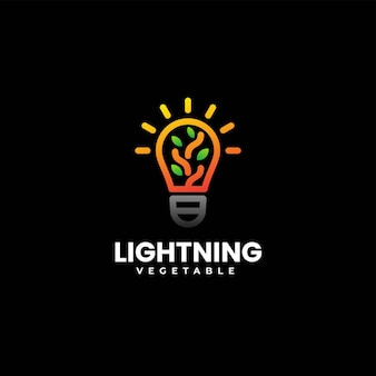 Illustration logo vectoriel lampe nature style art ligne dégradé