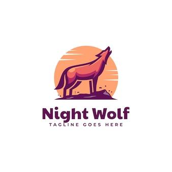 Illustration logo vectoriel loup nuit dans style mascotte simple