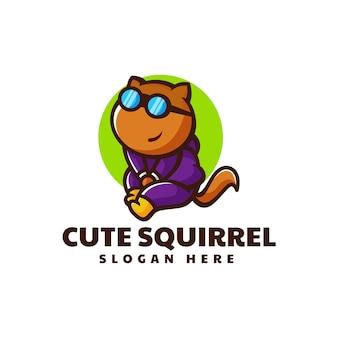 Illustration logo vectoriel mignon écureuil mascotte dans style dessin animé