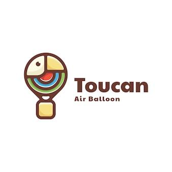 Illustration logo vectoriel montgolfière toucan dans style double signification