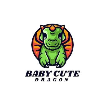 Illustration logo vectoriel petit dragon mascotte dans style dessin animé