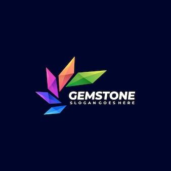 Illustration logo vectoriel pierre gemme abstraite forme empilée dans style coloré