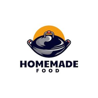 Illustration logo vectoriel poêle dans style mascotte simple