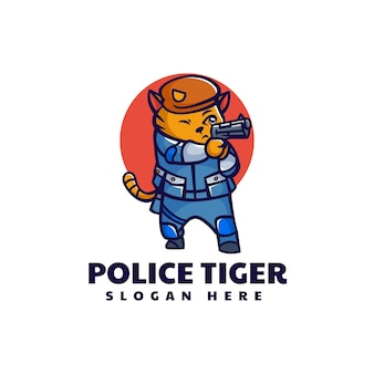 Illustration logo vectoriel police tigre mascotte style cartoon