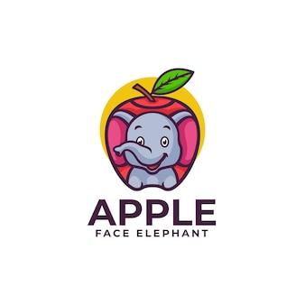 Illustration logo vectoriel pomme éléphant mascotte dans style dessin animé