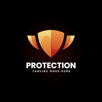 Illustration logo vectoriel protection dans style coloré dégradé