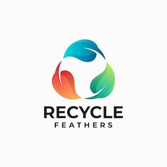 Illustration logo vectoriel recycler style coloré dégradé