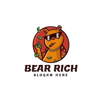 Illustration logo vectoriel riche ours mascotte dans style dessin animé