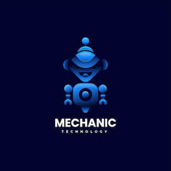 Illustration logo vectoriel robot mécanicien dégradé style coloré