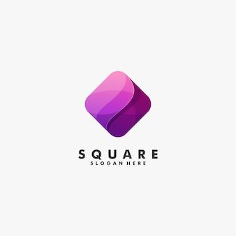 Illustration logo vectoriel style carré abstrait dégradé carré.