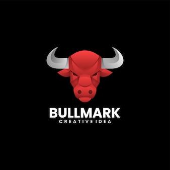 Illustration de logo vectoriel style coloré dégradé de taureau.