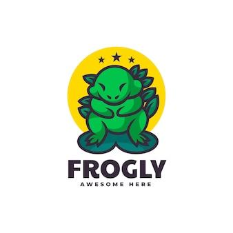 Illustration de logo vectoriel style de dessin animé de mascotte de grenouille.