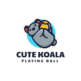 Illustration de logo vectoriel style de dessin animé de mascotte de koala.