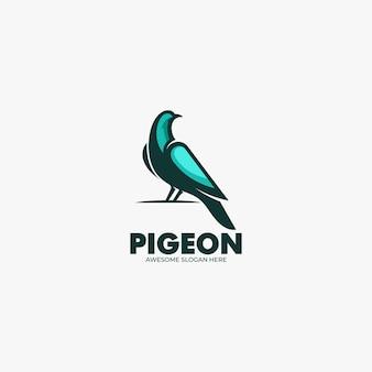 Illustration de logo vectoriel style de dessin animé de mascotte de pigeon.