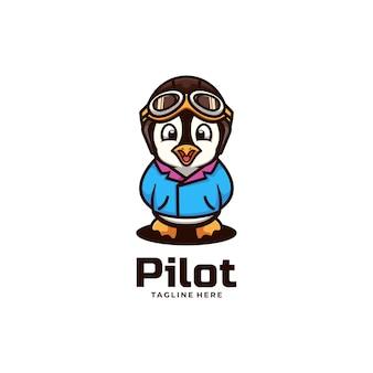 Illustration de logo vectoriel style de mascotte simple pilote.