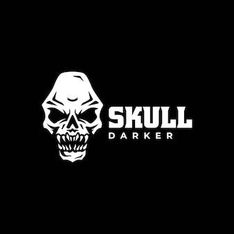 Illustration logo vectoriel style silhouette crâne